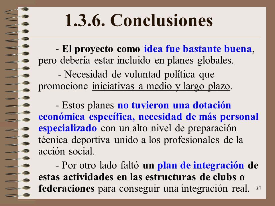 1.3.6. Conclusiones - El proyecto como idea fue bastante buena, pero debería estar incluido en planes globales.