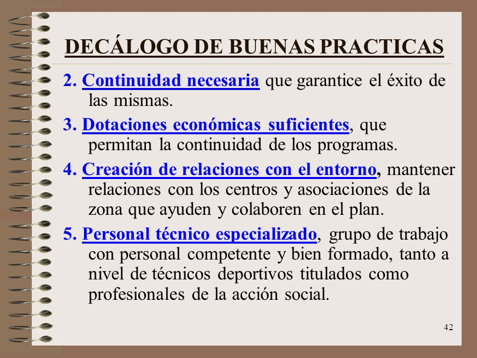 DECÁLOGO DE BUENAS PRACTICAS