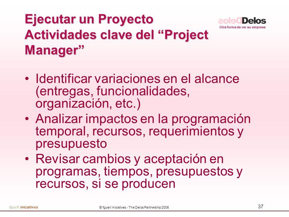 Ejecutar un Proyecto Actividades clave del Project Manager