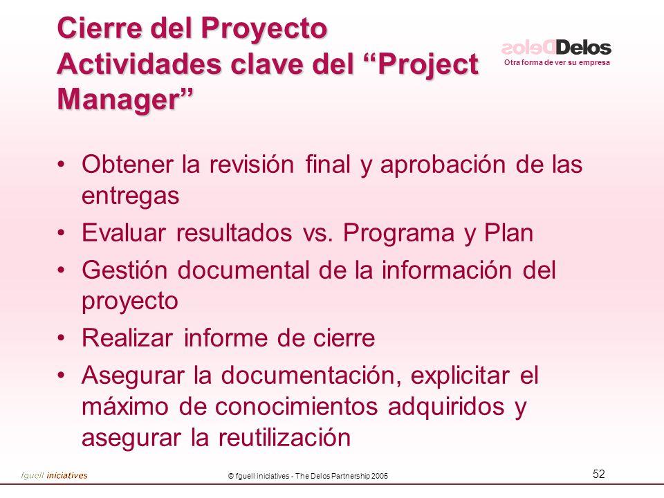 Cierre del Proyecto Actividades clave del Project Manager