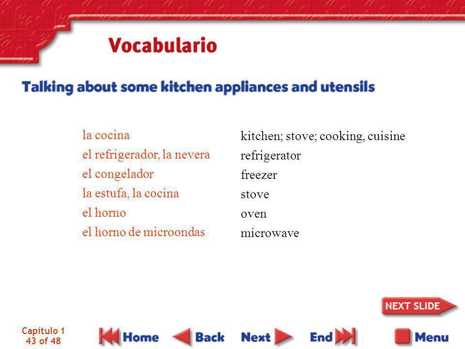el refrigerador, la nevera el congelador la estufa, la cocina el horno