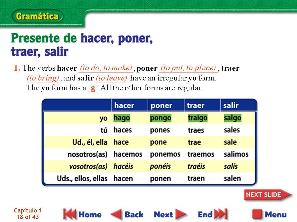 1. The verbs hacer _____________, poner ______________, traer