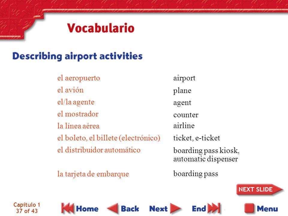 el aeropuerto el avión el/la agente el mostrador la línea aérea el boleto, el billete (electrónico) el distribuidor automático