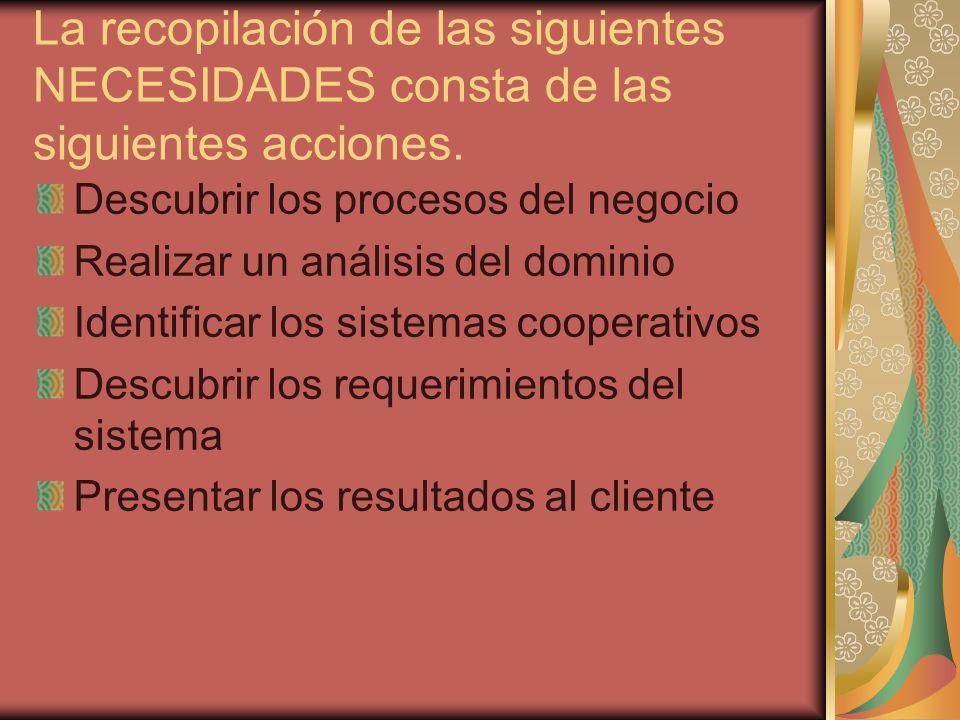 La recopilación de las siguientes NECESIDADES consta de las siguientes acciones.