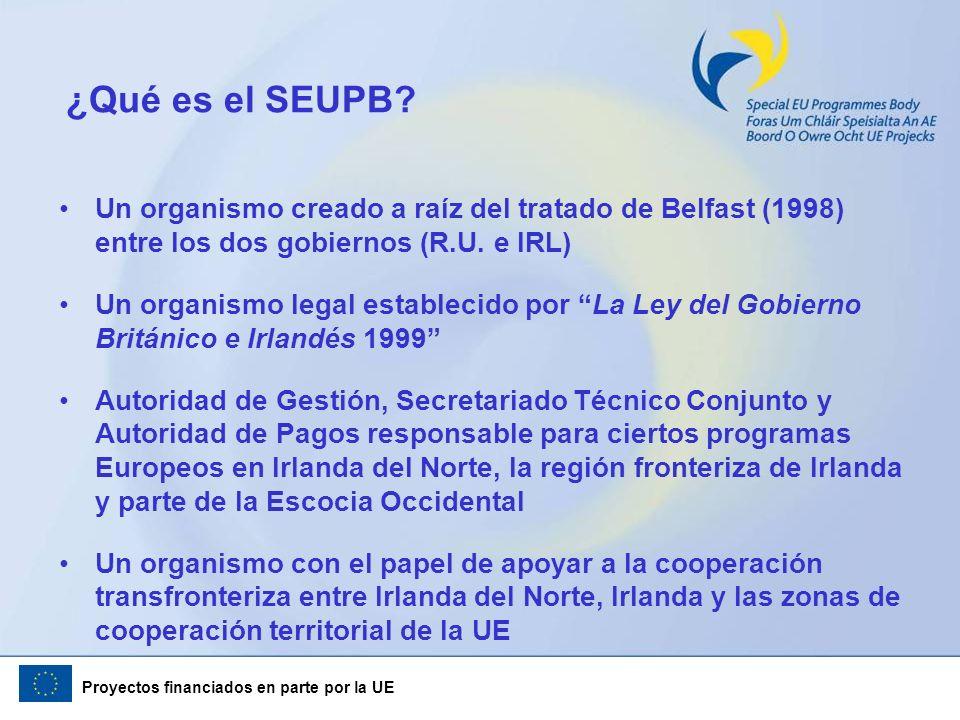 ¿Qué es el SEUPB Un organismo creado a raíz del tratado de Belfast (1998) entre los dos gobiernos (R.U. e IRL)