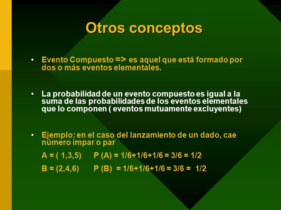 Otros conceptos Evento Compuesto => es aquel que está formado por dos o más eventos elementales.
