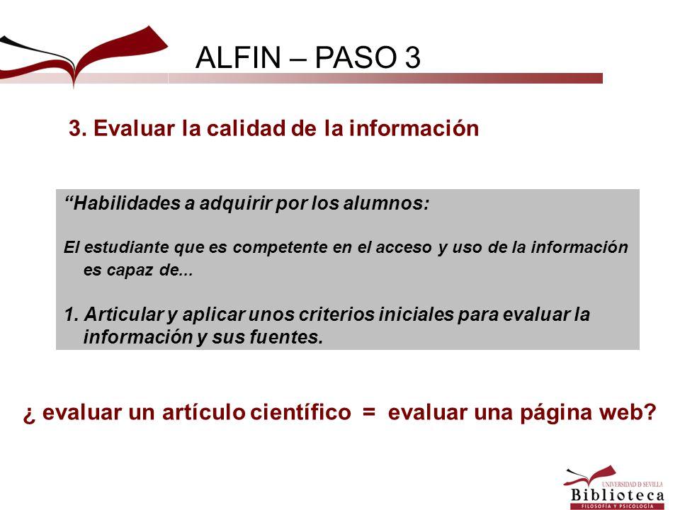 ¿ evaluar un artículo científico = evaluar una página web