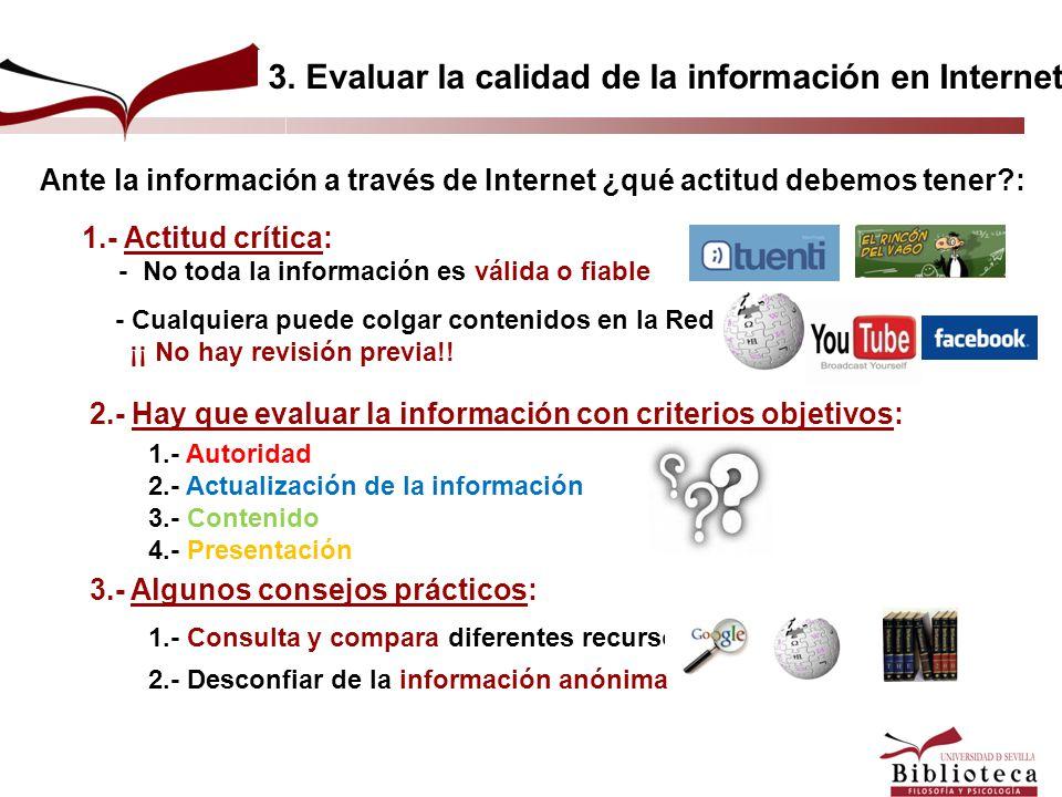 3. Evaluar la calidad de la información en Internet