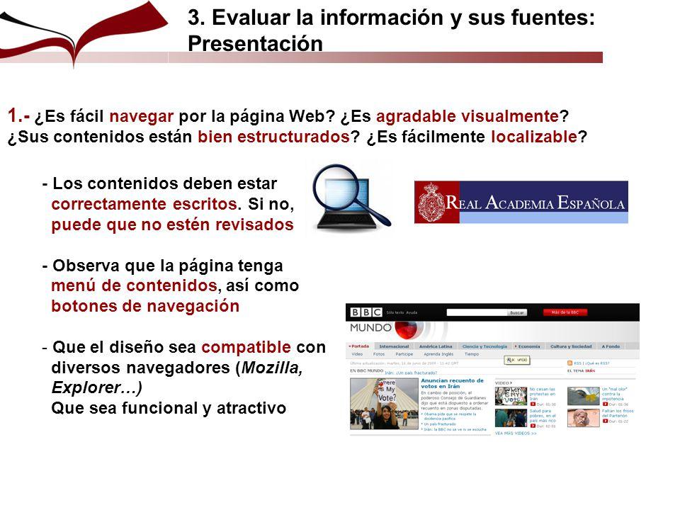 3. Evaluar la información y sus fuentes: Presentación