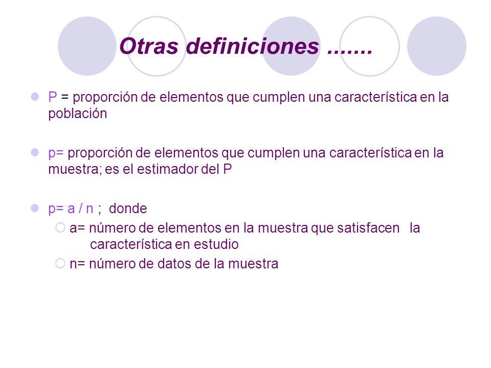 Otras definiciones ....... P = proporción de elementos que cumplen una característica en la población.