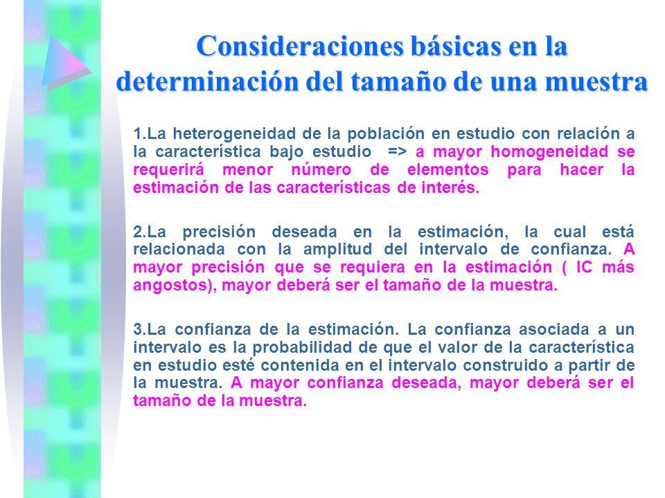 Consideraciones básicas en la determinación del tamaño de una muestra