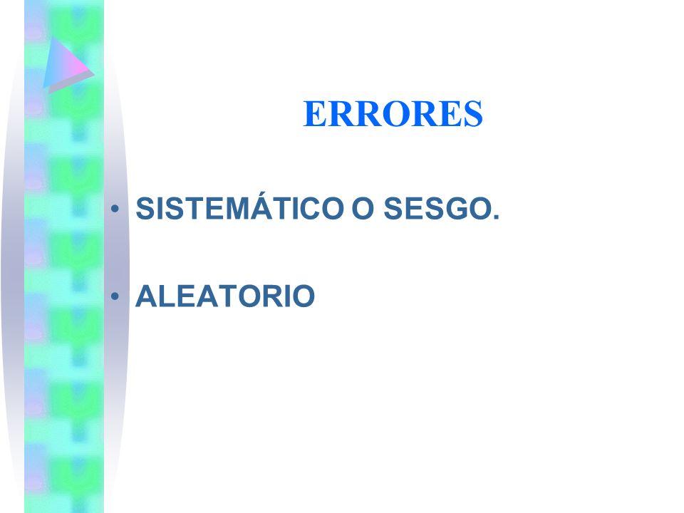 ERRORES SISTEMÁTICO O SESGO. ALEATORIO