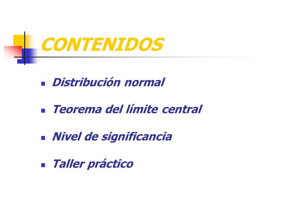 CONTENIDOS Distribución normal Teorema del límite central
