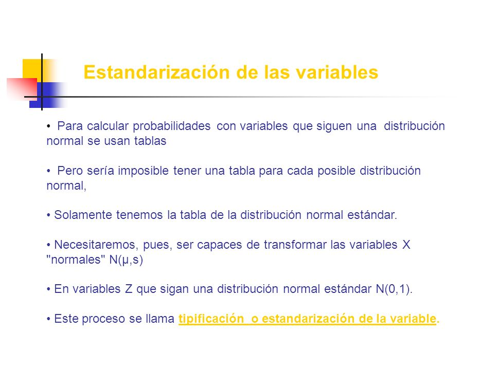 Estandarización de las variables