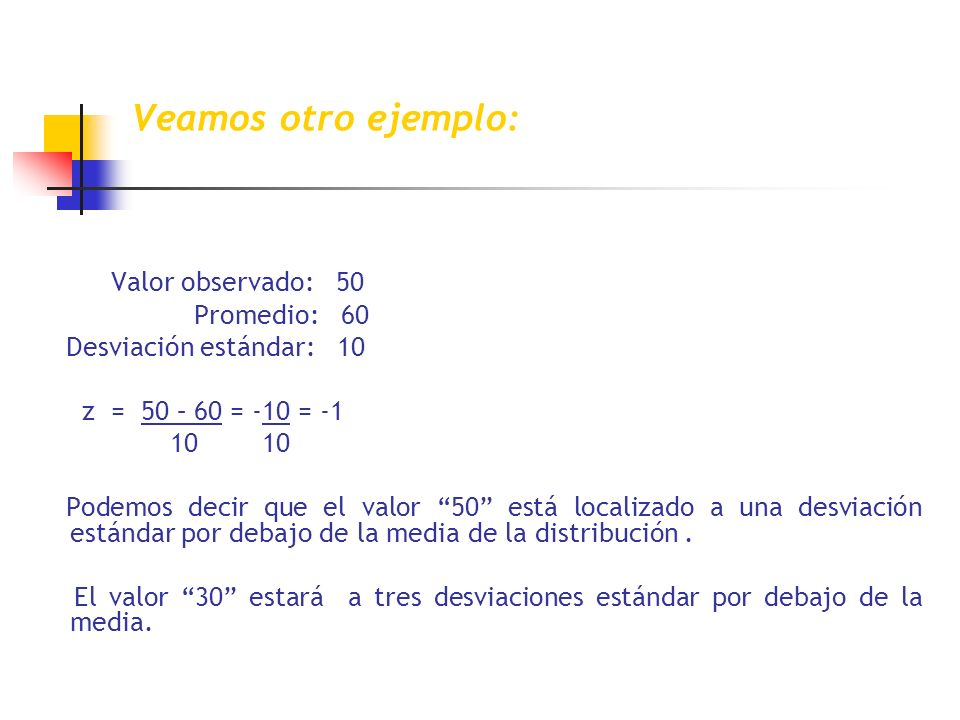 Veamos otro ejemplo: Valor observado: 50 Promedio: 60