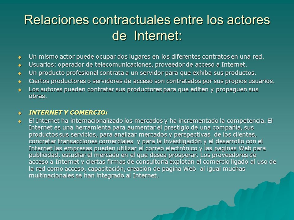 Relaciones contractuales entre los actores de Internet:
