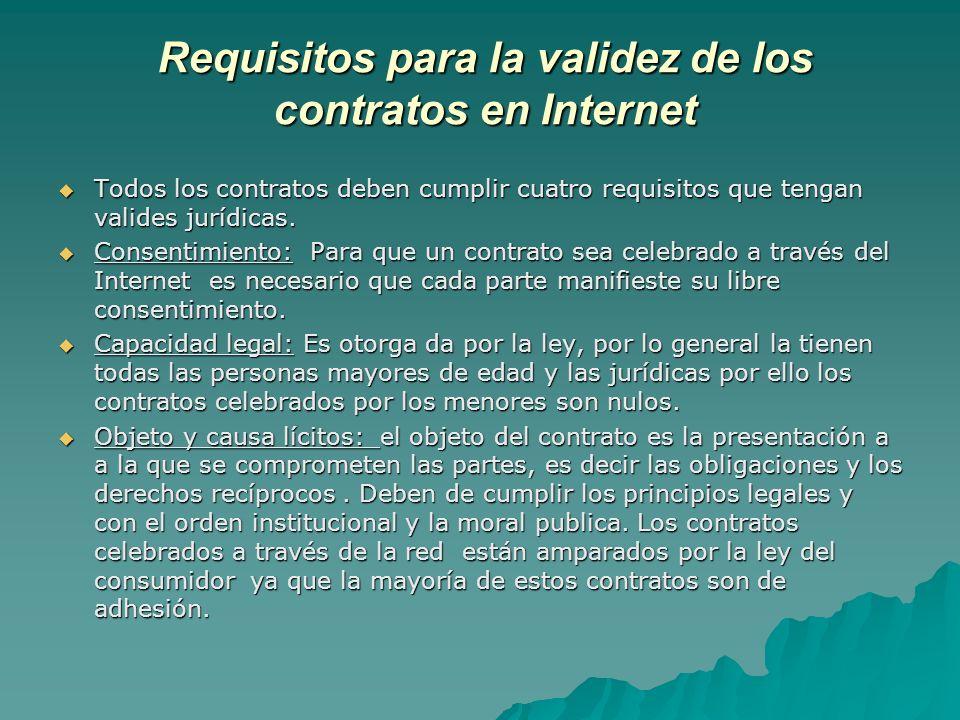 Requisitos para la validez de los contratos en Internet