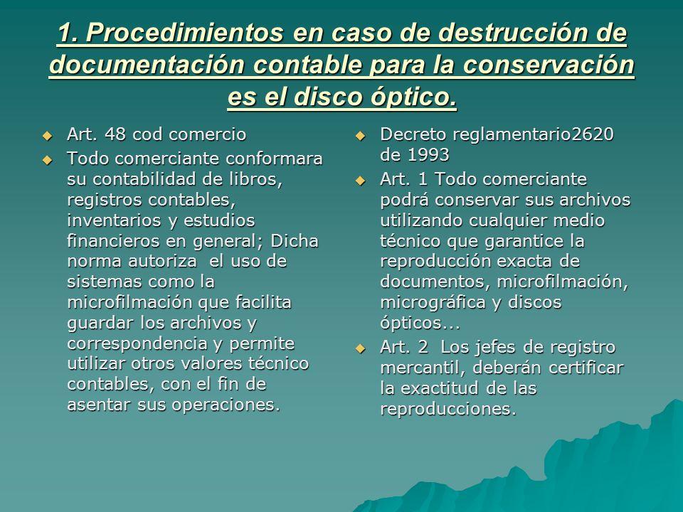 1. Procedimientos en caso de destrucción de documentación contable para la conservación es el disco óptico.