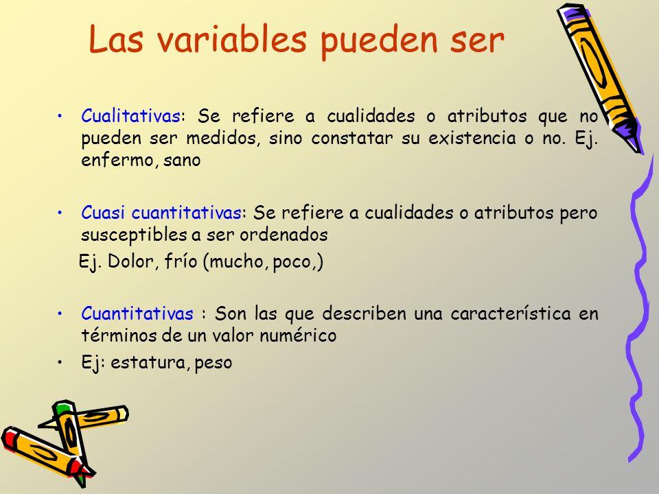 Las variables pueden ser