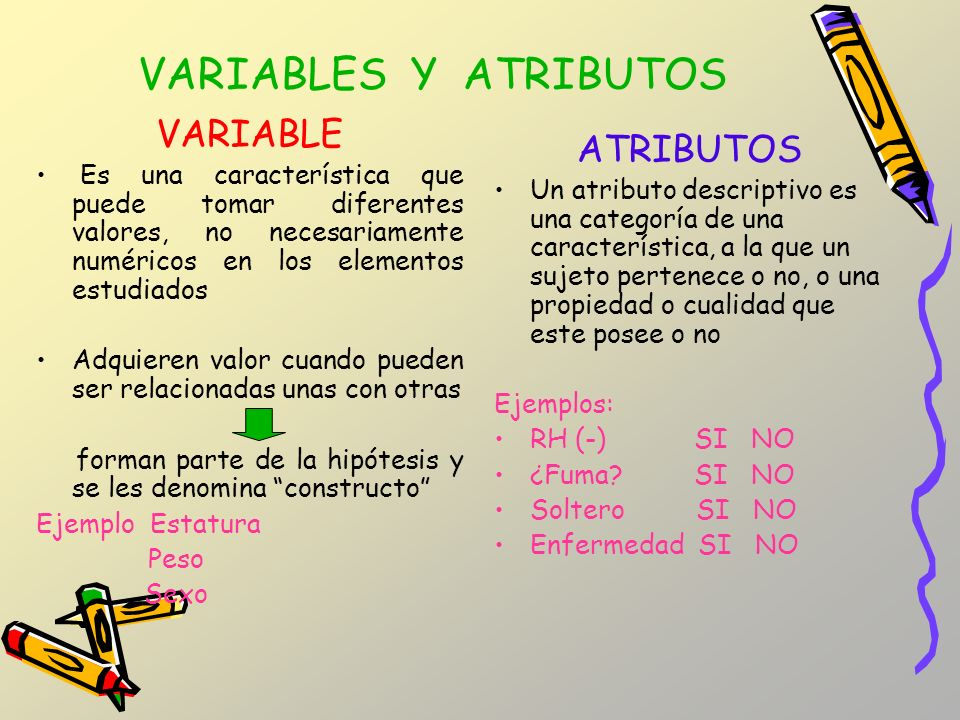 VARIABLES Y ATRIBUTOS VARIABLE ATRIBUTOS