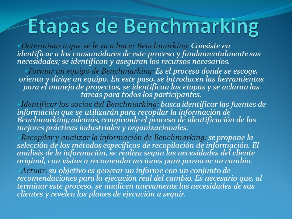 Etapas de Benchmarking