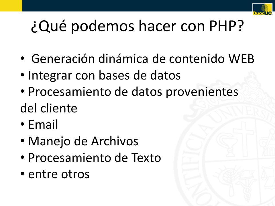 ¿Qué podemos hacer con PHP