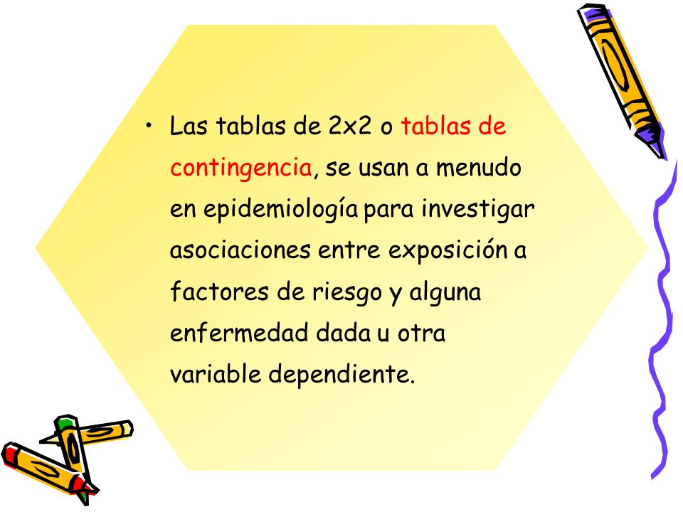 Las tablas de 2x2 o tablas de contingencia, se usan a menudo en epidemiología para investigar asociaciones entre exposición a factores de riesgo y alguna enfermedad dada u otra variable dependiente.