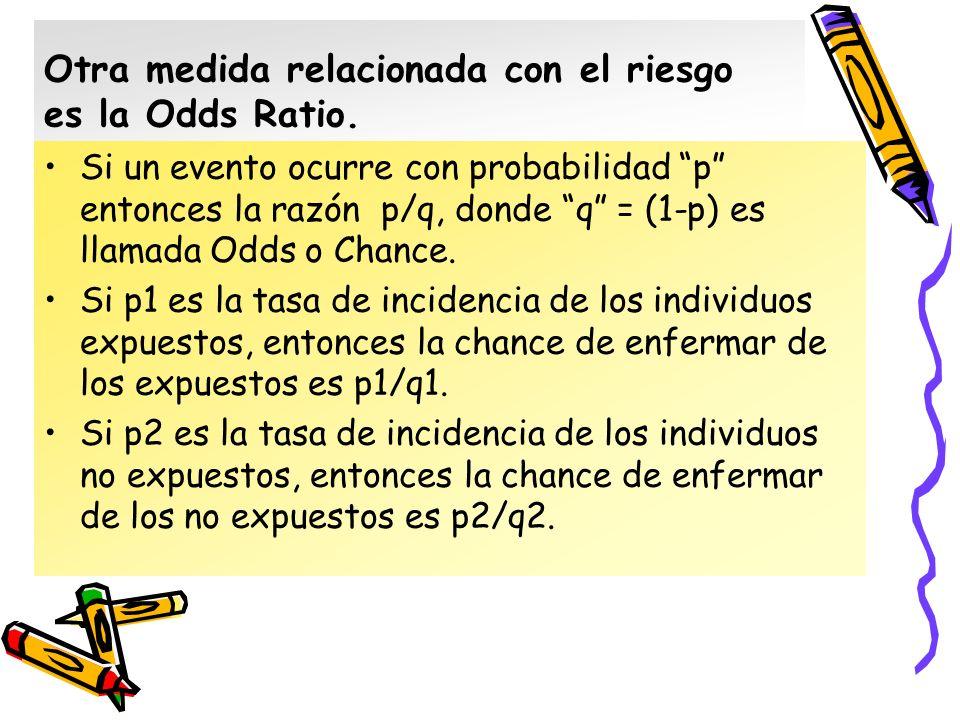 Otra medida relacionada con el riesgo es la Odds Ratio.