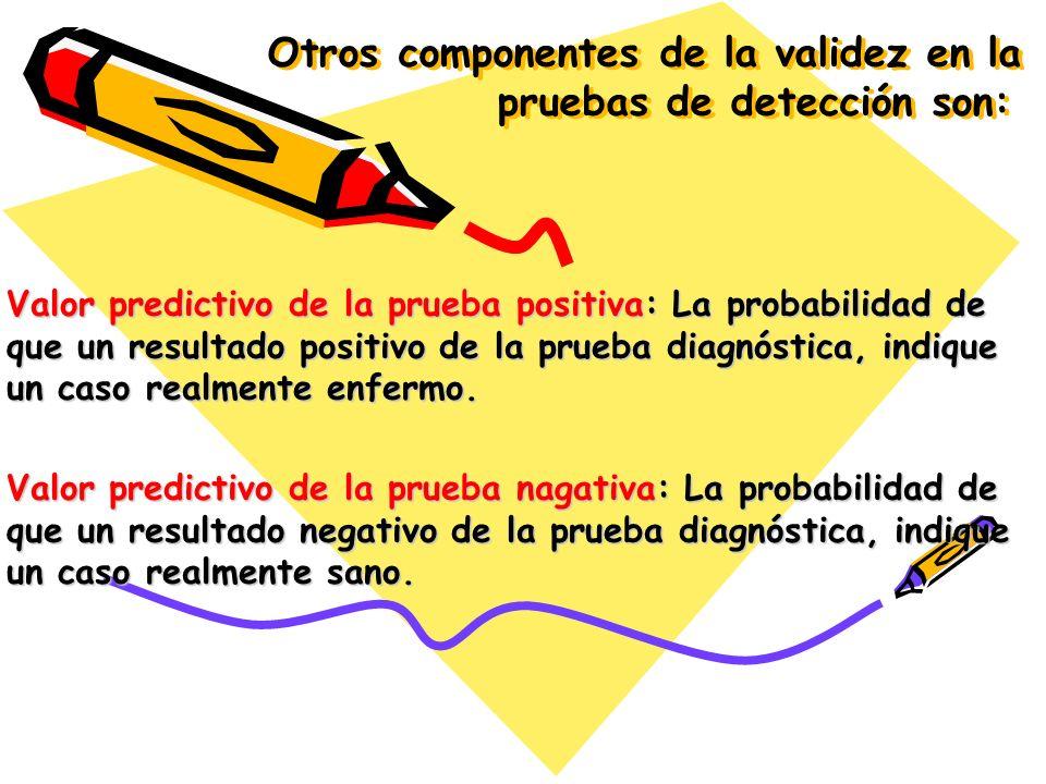 Otros componentes de la validez en la pruebas de detección son: