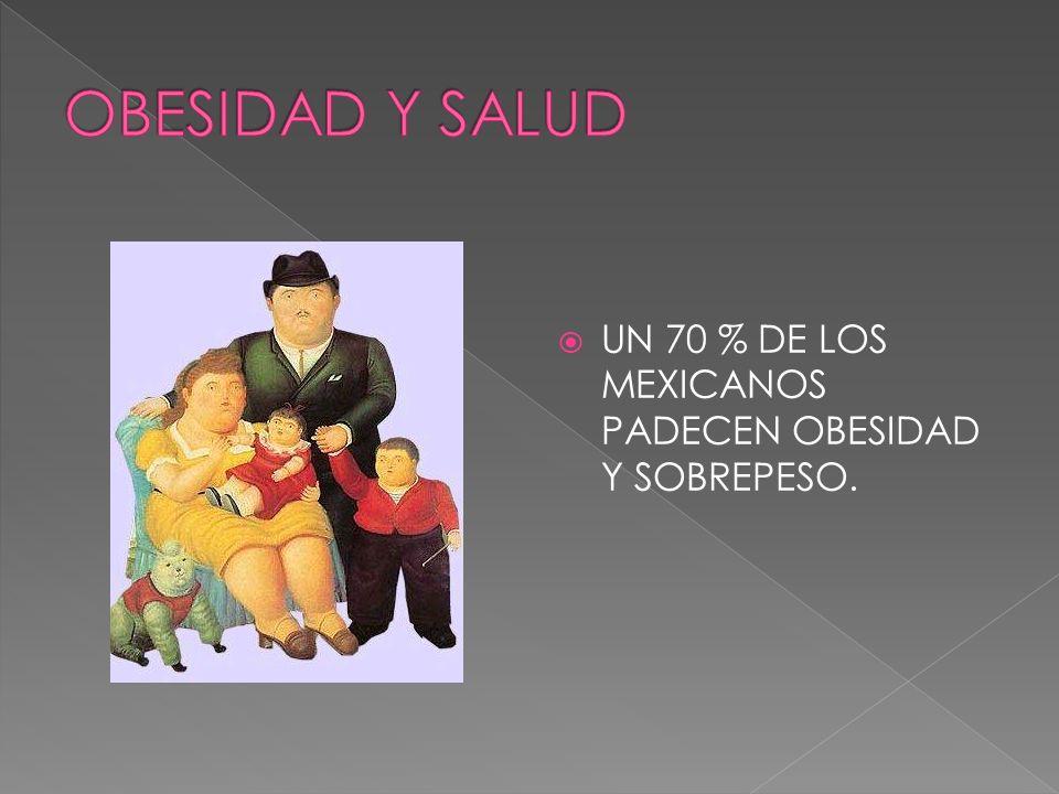OBESIDAD Y SALUD UN 70 % DE LOS MEXICANOS PADECEN OBESIDAD Y SOBREPESO.