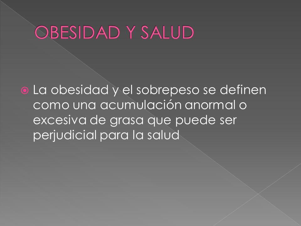 OBESIDAD Y SALUD La obesidad y el sobrepeso se definen como una acumulación anormal o excesiva de grasa que puede ser perjudicial para la salud.