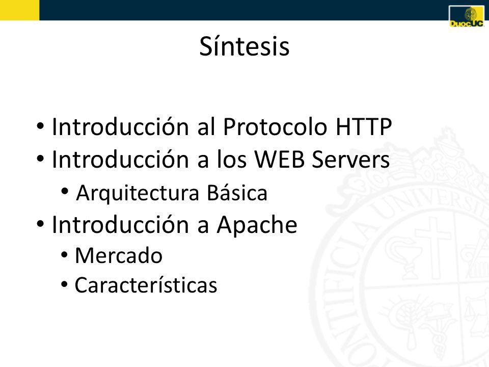 Síntesis Introducción al Protocolo HTTP Introducción a los WEB Servers