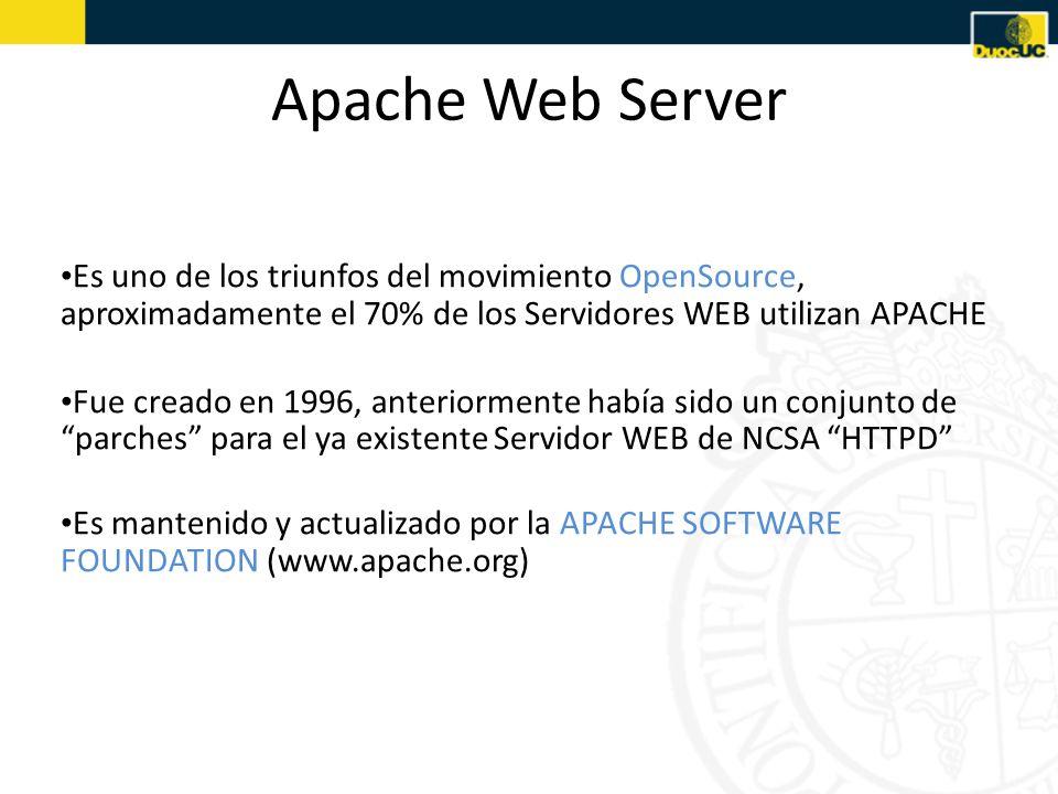 Apache Web Server Es uno de los triunfos del movimiento OpenSource, aproximadamente el 70% de los Servidores WEB utilizan APACHE.