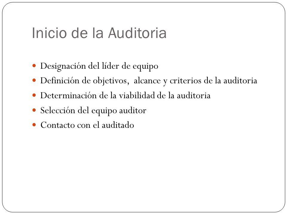 Inicio de la Auditoria Designación del líder de equipo