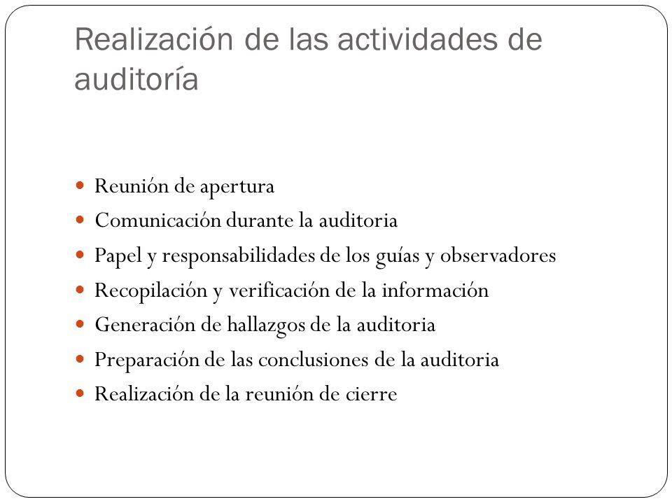 Realización de las actividades de auditoría