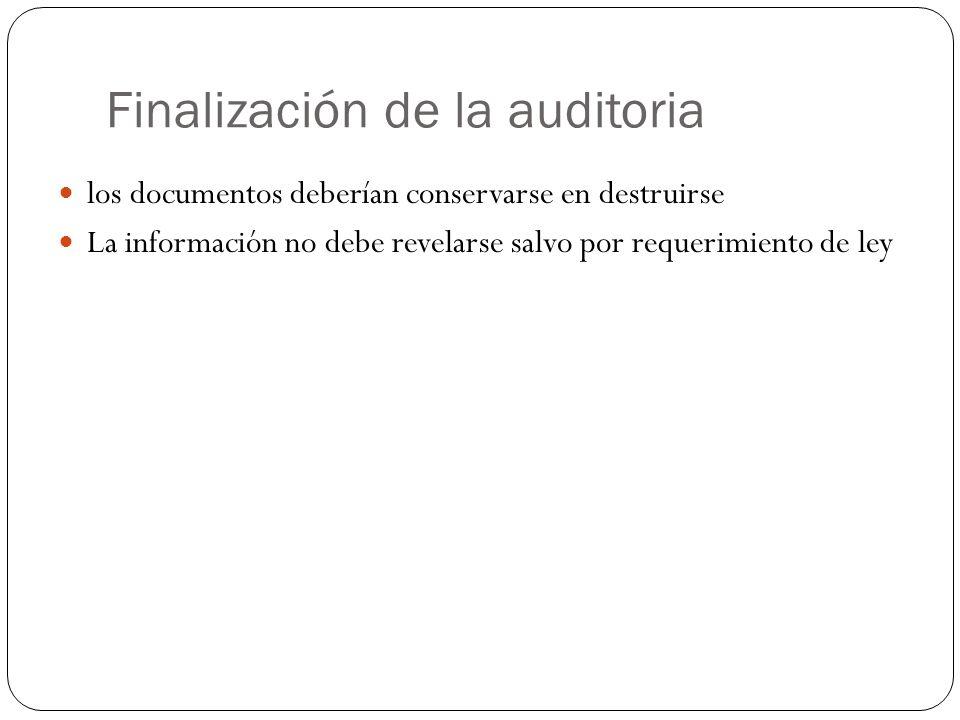 Finalización de la auditoria