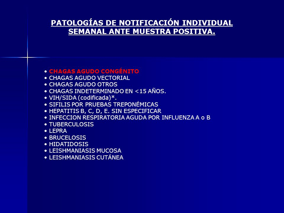 PATOLOGÍAS DE NOTIFICACIÓN INDIVIDUAL SEMANAL ANTE MUESTRA POSITIVA.