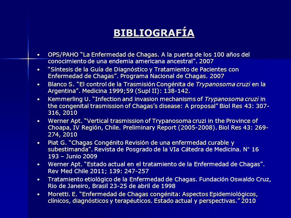 BIBLIOGRAFÍA OPS/PAHO La Enfermedad de Chagas. A la puerta de los 100 años del conocimiento de una endemia americana ancestral . 2007.