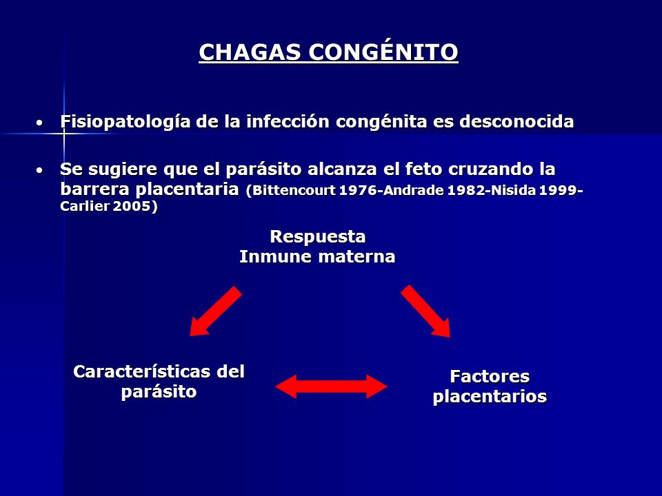 CHAGAS CONGÉNITOFisiopatología de la infección congénita es desconocida.