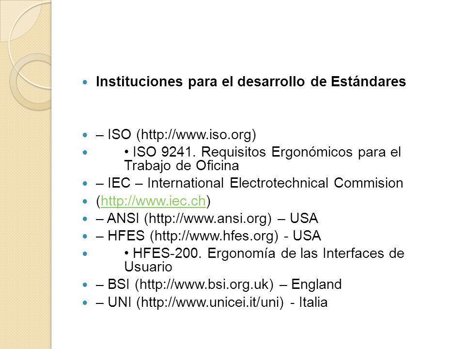 Instituciones para el desarrollo de Estándares