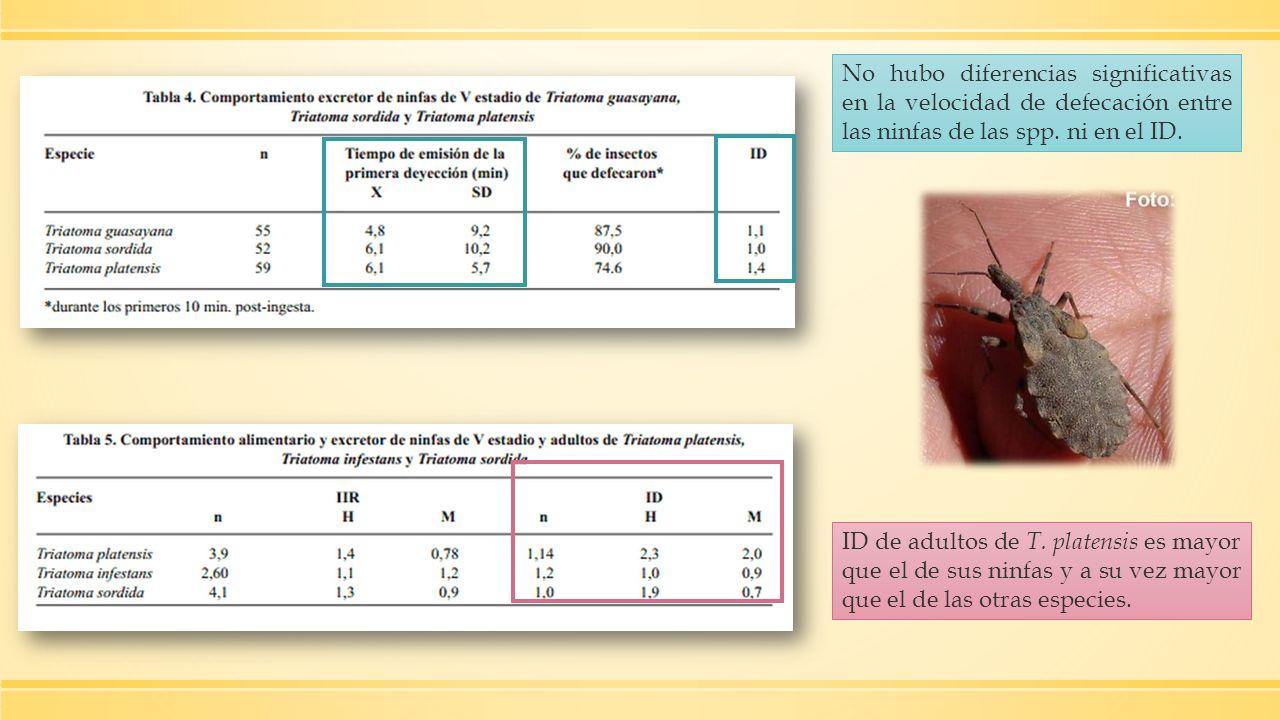 No hubo diferencias significativas en la velocidad de defecación entre las ninfas de las spp. ni en el ID.