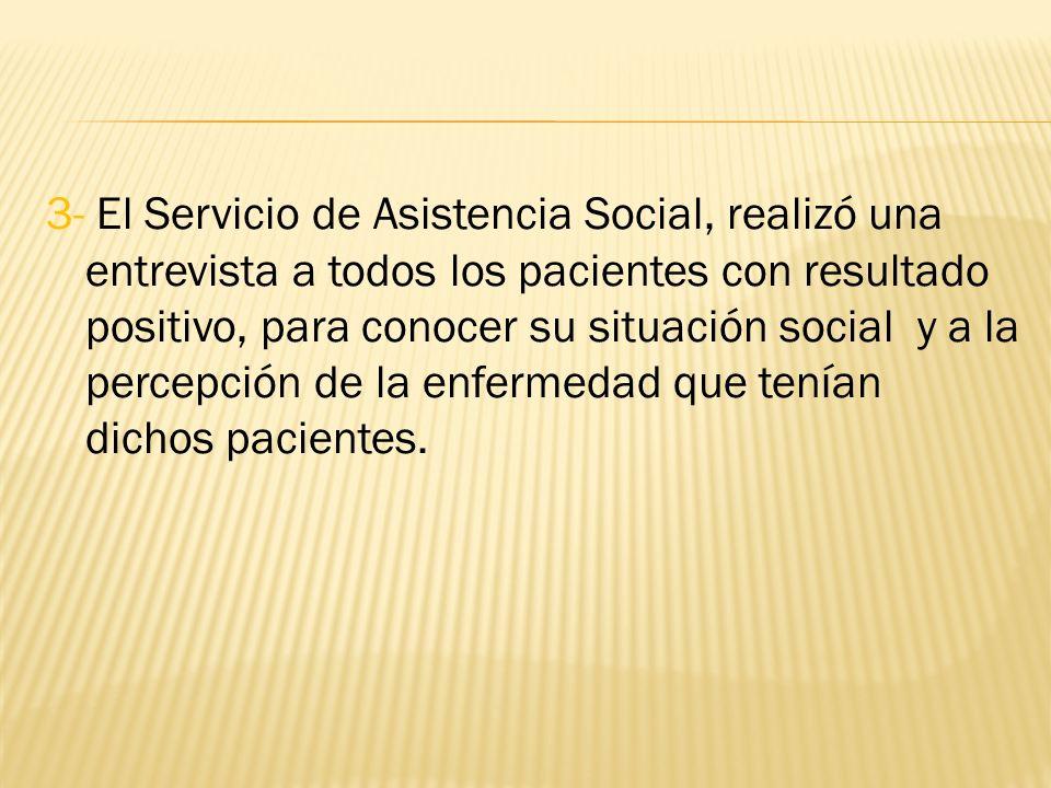 3- El Servicio de Asistencia Social, realizó una entrevista a todos los pacientes con resultado positivo, para conocer su situación social y a la percepción de la enfermedad que tenían dichos pacientes.