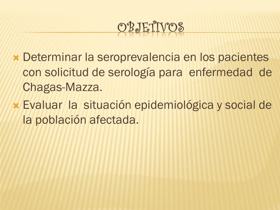 Objetivos Determinar la seroprevalencia en los pacientes con solicitud de serología para enfermedad de Chagas-Mazza.