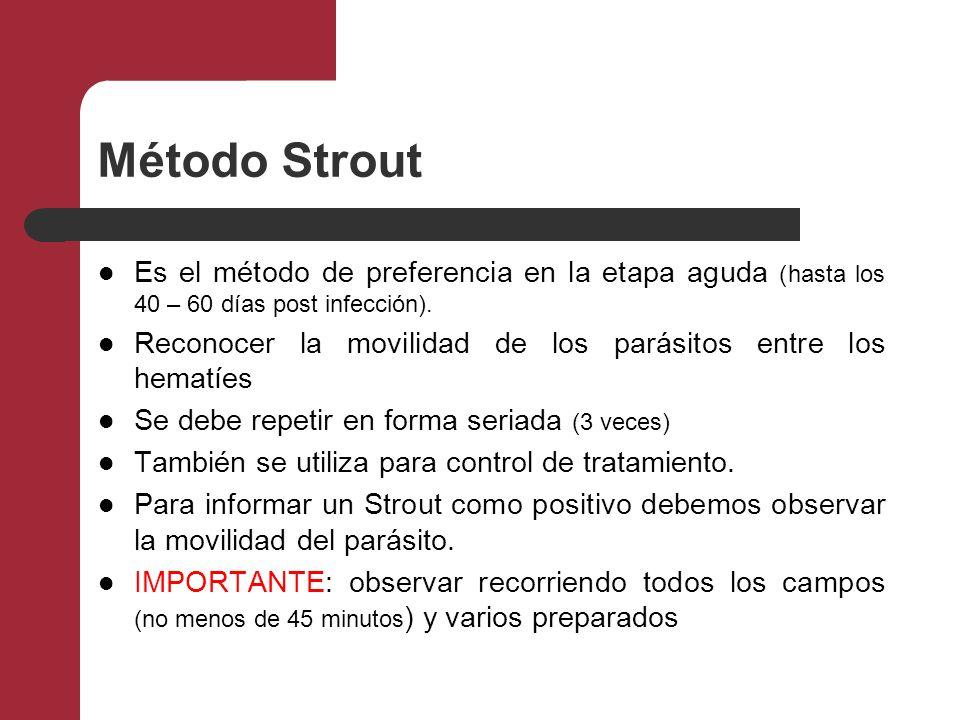Método Strout Es el método de preferencia en la etapa aguda (hasta los 40 – 60 días post infección).
