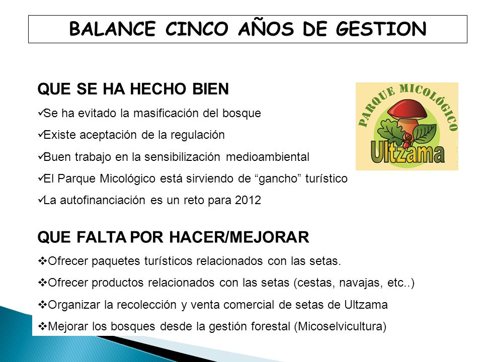 BALANCE CINCO AÑOS DE GESTION
