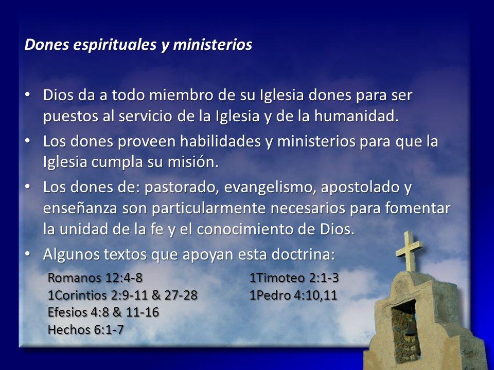 Dones espirituales y ministerios