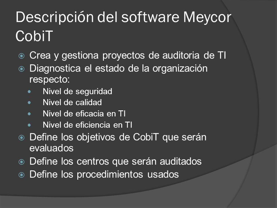 Descripción del software Meycor CobiT