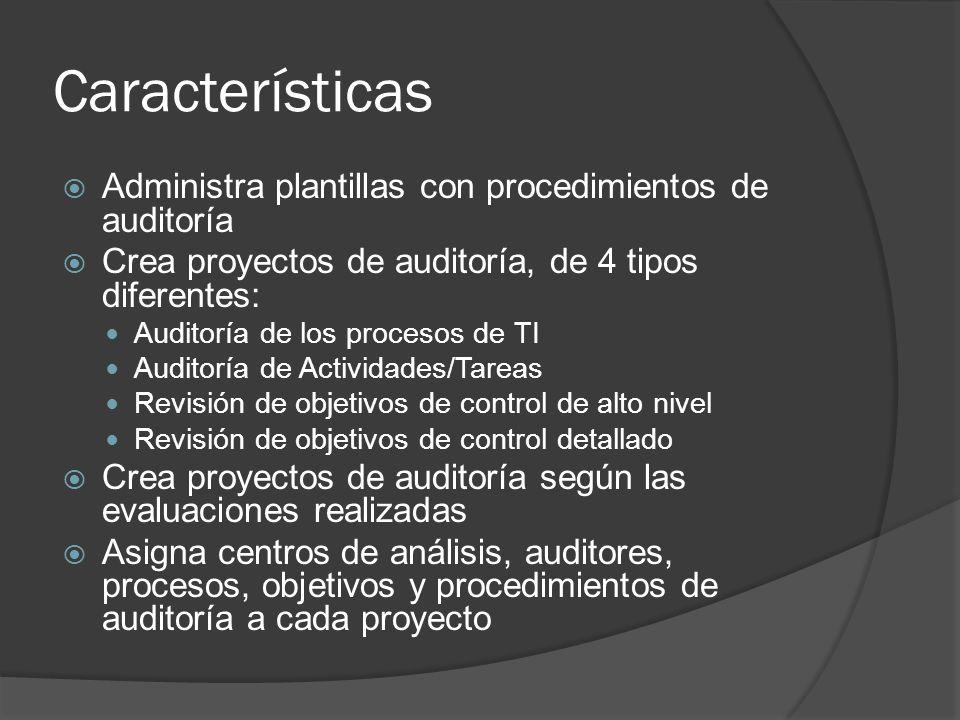 Características Administra plantillas con procedimientos de auditoría