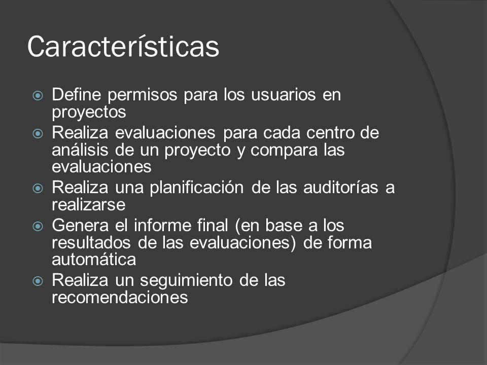 Características Define permisos para los usuarios en proyectos
