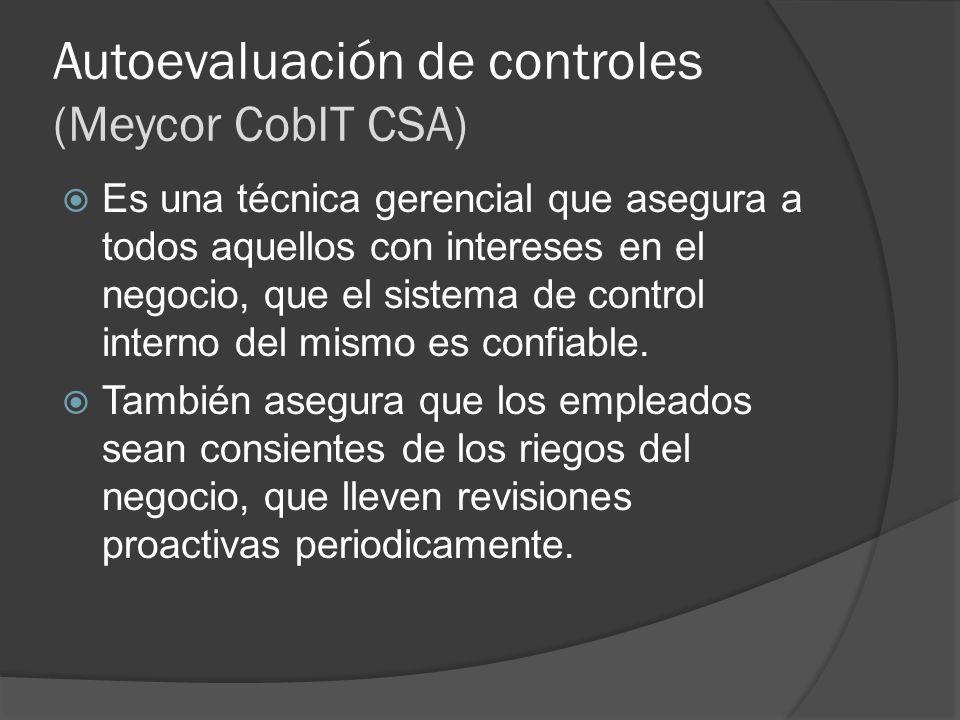 Autoevaluación de controles (Meycor CobIT CSA)